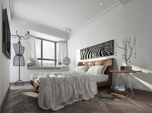 ,110平,23万,现代,三居,卧室,白色,