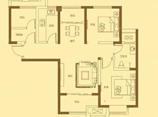 贰号城邦90平三室两厅美式乡村装修效果户型方案平面图,90平,9万,美式,三居,