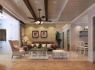 贰号城邦90平三室两厅美式乡村装修效果图--沙发墙,90平,9万,美式,三居,客厅,黄色,