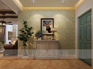 贰号城邦90平三室两厅美式乡村装修效果图,入户的设计相对来说比较简约,入户玄关处放置一个美式风格的半高鞋柜配以简单的小摆件,墙上挂了一副更具美式气息的实木框挂画,显得入户玄关处简约而不简单。,90平,9万,美式,三居,玄关,黄色,