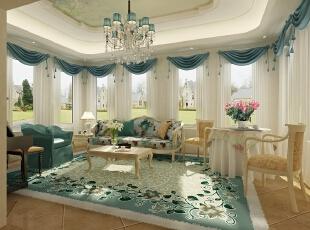 ,147平,50万,混搭,别墅,客厅,蓝色,白色,