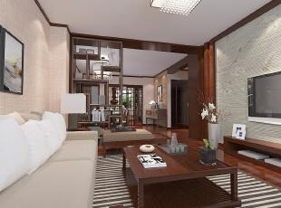 ,98平,8万,中式,三居,客厅,原木色,