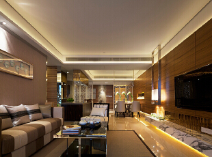 ,207平,25万,中式,三居,客厅,原木色,