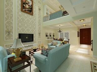融科伍杄岛别墅欧式风格装修案例,欧式,四居,融科伍杄岛,别墅装修,客厅,绿色,蓝色,