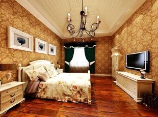融科伍杄岛别墅欧式风格装修案例,欧式,卧室,融科伍杄岛,别墅装修,卧室,原木色,黄色,