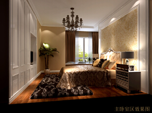 美式家居的卧室布置较为温馨,作为主人的私密空间,主要以功能性和实用舒适为考虑的重点,一般的卧室不设顶灯,多用温馨柔软的成套布艺来装点,同时在软装和用色上非常统一。,218平,50万,美式,三居,卧室,简约,黄色,