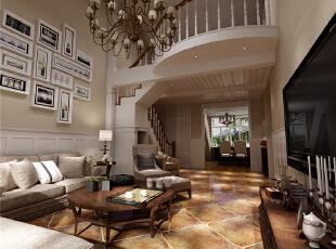 ,150平,6万,美式,三居,客厅,白色,