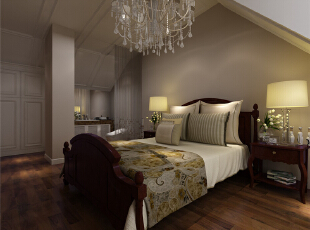 ,150平,6万,美式,三居,卧室,白色,