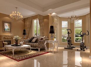 ,180平,10万,欧式,公寓,客厅,黄色,