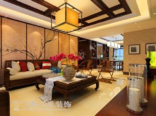 ,177平,16万,中式,四居,客厅,原木色,