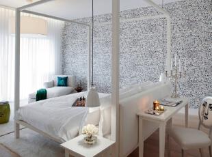 北京别墅装修设计—卧室 卧室实用和简洁 主要以白色调为主,用抽象的壁纸来突出整个空间。而简约风格不仅注重居室的实用性,还体现出现代社会生活的精致与个性,符合现代人的生活品位。,140平,28万,现代,复式,卧室,白色,原木色,黑白,蓝色,