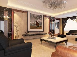 ,320平,40万,中式,别墅,客厅,黑白,
