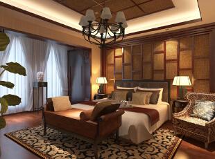 ,320平,40万,中式,别墅,卧室,原木色,