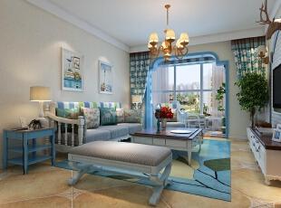 ,128平,15万,地中海,三居,客厅,白色,蓝色,黄色,