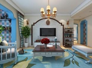 ,128平,15万,地中海,三居,蓝色,白色,客厅,