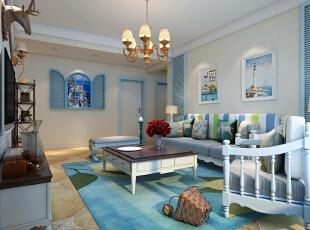,128平,15万,地中海,三居,客厅,蓝色,白色,