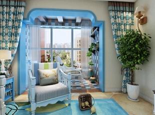 ,128平,15万,地中海,三居,阳台,白色,蓝色,