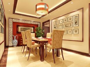 餐厅效果图  设计说明:现代中式以亮白色为主色调,其中融入中式风格的软装饰品。白红相间墙面上悬挂中国字画,另外墙面造型遵循简约风格,以工艺画来装饰。,104平,5万,中式,三居,餐厅,黄色,原木色,
