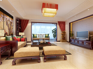 客厅效果图  设计说明:这是一款典型的现代中式风格案例,首先在家具配饰上沿袭了中式的传统构造,如红木家具、梅花壁挂修饰、中式图纹抱枕等,形成一副大气、典雅的中式风格,104平,5万,中式,三居,客厅,原木色,