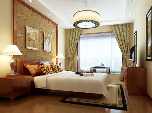 卧室效果图  设计说明:一盏典型中式鼓形吊灯,使空间色彩对比柔和舒适。床头背景墙选用碎花棕底,与居室内的地板交相辉映,降低了居室的刺眼感,营造出利于睡眠的休息环境。,104平,5万,中式,三居,卧室,黄色,原木色,