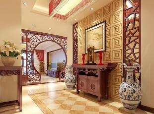 门厅效果图  设计说明:中式窗棂为玄关,门厅置屋桌选用古老的中式家具。对称玄关也是典型的中式特点,此外还有一对摆放对称的瓷质花瓶。一系列的中式元素经过设计师的巧妙搭配,塑造出中式大家的风范。,104平,5万,中式,三居,玄关,红色,黄色,