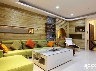 ,128平,16万,现代,三居,客厅,原木色,绿色,