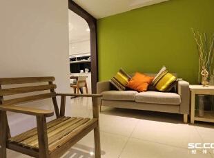 ,128平,16万,现代,三居,客厅,绿色,