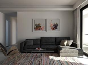 ,100平,15万,现代,三居,客厅,黑白,