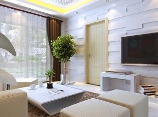 客厅装修效果图,89平,6万,现代,三居,客厅,小资,春色,原木色,黑白,