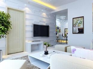 客厅装修效果图,89平,6万,现代,三居,小资,黑白,原木色,春色,