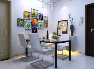 餐厅装修效果图,89平,6万,现代,三居,餐厅,原木色,黑白,