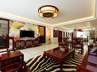 中国风的构成主要体现在传统家具(多为明清家具为主)、装饰品及黑、红为主的装饰色彩上。室内多采用对称式的布局方式,格调高雅,造型简朴优美,色彩浓重而成熟。中国传统室内陈设包括字画、匾幅、挂屏、盆景、瓷器、古玩、屏风、博古架等,追求一种修身养性的生活境界。,392平,40万,中式,四居,客厅,白色,红色,