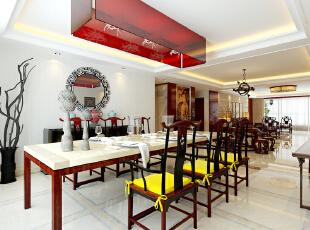 """中式家具和饰品或颜色较深,或非常艳丽,安排它们时需要对空间的整体色彩进行通盘考虑。 另外,中式装修讲究的是""""原汁原味""""和非常自然和谐的搭配。,392平,40万,中式,四居,餐厅,白色,红色,"""