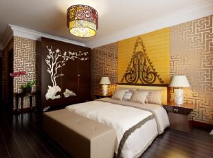 中式装饰材料以木质为主。讲究雕刻彩绘、造型典雅。,392平,40万,中式,四居,卧室,黑白,黄色,