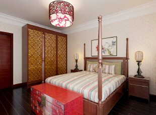 ,392平,40万,中式,四居,卧室,原木色,