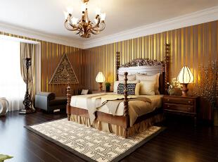 ,392平,40万,中式,四居,卧室,黄色,原木色,