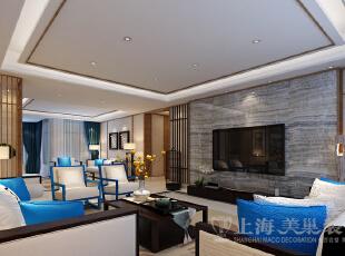 银基王朝220平新中式装修方案——电视背景墙装修效果图,220平,20万,中式,大户型,客厅,黑白,