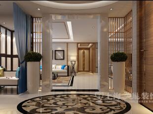 银基王朝220平新中式装修样板间——廊厅装修效果图,220平,20万,中式,大户型,玄关,黑白,