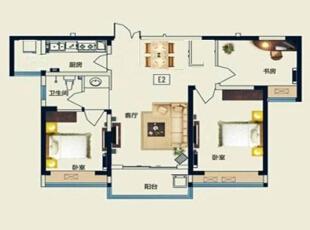永威五月花城E2户型88平方美式风格装修效果图 户型图,88平,6万,美式,三居,