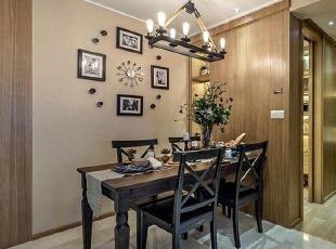 永威五月花城E2户型88平方美式风格装修效果图 餐厅,88平,6万,美式,三居,餐厅,原木色,