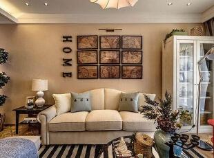 永威五月花城E2户型88平方美式风格装修效果图 客厅,88平,6万,美式,三居,客厅,黄色,