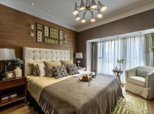 永威五月花城E2户型88平方美式风格装修效果图 卧室,88平,6万,美式,三居,卧室,原木色,