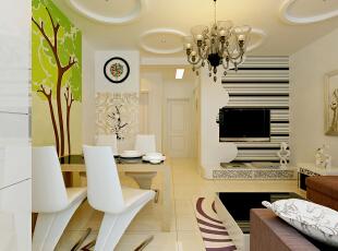 现代简约风格的装修不主张追求奢华,但是却很注意个性的表现。,65平,5万,现代,小户型,客厅,餐厅,白色,