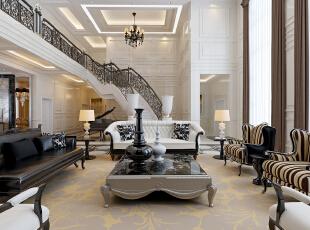 """形散神聚""""是新古典的主要特点。新古典主义的设计风格是经过改良的古典主义风格。欧洲文化丰富的艺术底蕴,开放、创新的设计思想……,400平,50万,别墅,新古典,客厅,黑白,"""