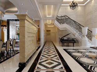 地面采用石材拼花,用石材天然的纹理和自然的色彩来修饰人工的痕迹。使客厅和餐厅的那种奢华、档次和品位毫无保留地流淌。,400平,50万,别墅,新古典,过道,黑白,
