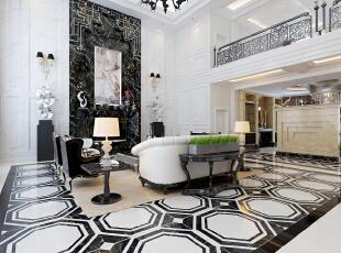 用简化的手法、现代的材料和加工技术去追求传统式样的大致轮廓特点。,400平,50万,别墅,新古典,客厅,黑白,