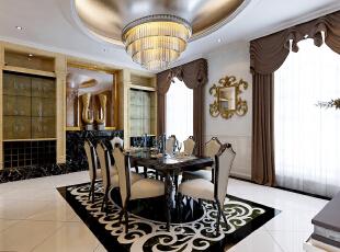 注重装饰效果,用室内陈设品来增强历史文脉特色,往往会照搬古典设施、家具及陈设品来烘托室内环境气氛。,400平,50万,别墅,新古典,餐厅,黑白,