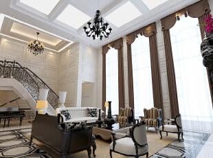 家居特征:所有的家具式样精炼、简朴,雅致;作工讲究,装饰文雅。曲线少,平直表面多,显得更加轻盈优美。,400平,50万,别墅,新古典,客厅,黑白,