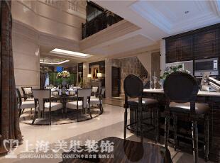 林溪湾480平别墅新古典装修案例——吧台装修效果图,480平,35万,新古典,别墅,餐厅,吧台,黑白,