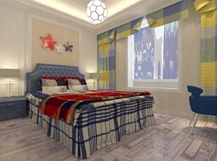 ,129平,13万,宜家,三居,卧室,蓝色,白色,